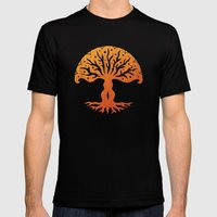Tree Of Life Woodcut Mens Fitted Tee Black SMALL