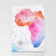 Africa Map in Colors Stationery Cards