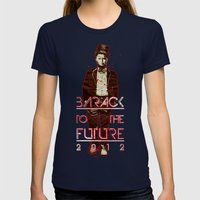 Barack To The Future Womens Fitted Tee Navy SMALL