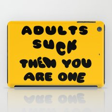 Adults Suck Fun Quote Text Design | Kawaii Fluffy Typography iPad Case
