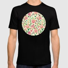 Pastel Roses in Blush Pink and Cream  MEDIUM Black Mens Fitted Tee