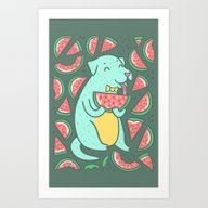 Watermelon Dog Art Print