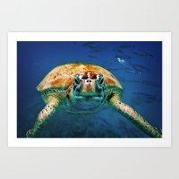 Bajan Turtle Art Print