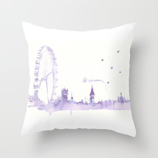 Watercolor landscape illustration_London Eye Throw Pillow