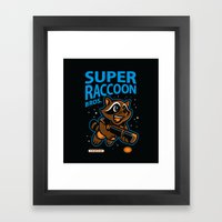 Super Raccoon Framed Art Print