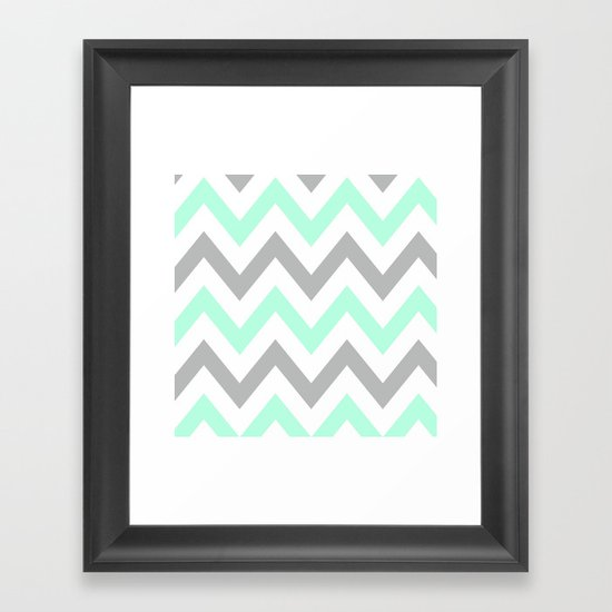 Mint Amp Gray Chevron Framed Art Print By Natalie Sales