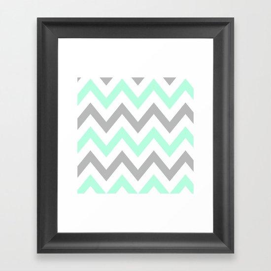 Mint Amp Gray Chevron Framed Art Print By Natalie Sales