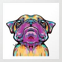 Puppy Pug Face Art Print
