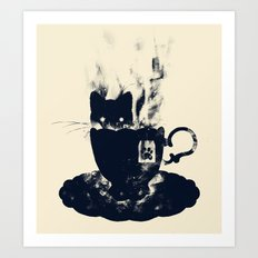 Having Tea With my Lovely Cat Art Print