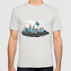 Team Zissou Crossing the Delaware Mens Fitted Tee Silver SMALL