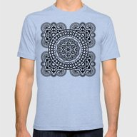 Decò In Black And White Mens Fitted Tee Tri-Blue SMALL