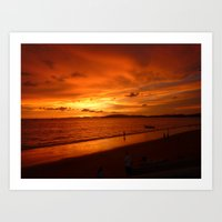 Scenic View Of Sea Against Orange Sky  during sunset in Thailand Art Print