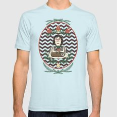 Yule Log Lady Mens Fitted Tee Light Blue SMALL