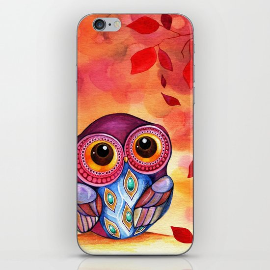 Owl's First Fall Leaf iPhone & iPod Skin
