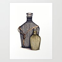 Ninja Bottles Art Print