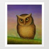 Mountain Scops Owl Art Print