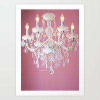 Pink And White Chandelie… Art Print