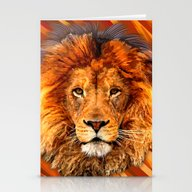 Old Lion Digital Art Pai… Stationery Cards