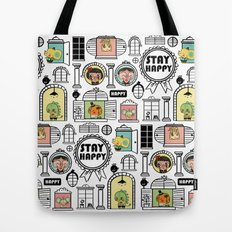 Pattern Stay Happy Animals Tote Bag