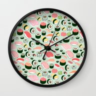 Wall Clock featuring Sushi Love by Kristin Nohe