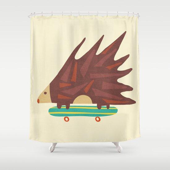 Hedgehog in hair raising speed Shower Curtain
