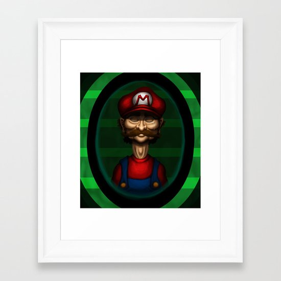 Sad Mario Framed Art Print