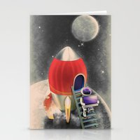 Rocketship Goes By Stationery Cards