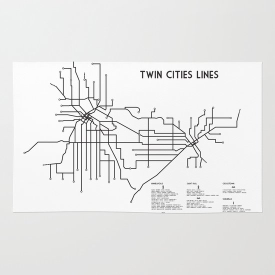 Twin Cities Lines Map Area & Throw Rug