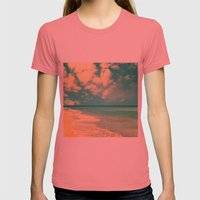 Retro Beach And Turquois… Womens Fitted Tee Pomegranate SMALL