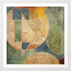 Abstract Grunge Patchwork Art Print
