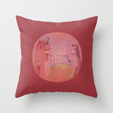 Houses in the sunset Throw Pillow