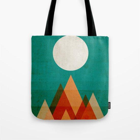Full moon over Sahara desert Tote Bag