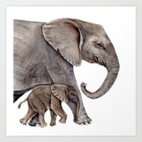 elephants Art Prints featuring Elephants by Goosi