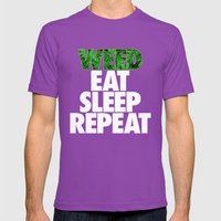Weed Eat Sleep Repeat Mens Fitted Tee Ultraviolet SMALL