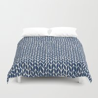Hand Knit Navy Duvet Cover