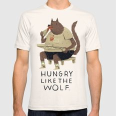 Hungry Like The Wolf Mens Fitted Tee Natural SMALL