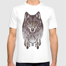 Wind Catcher Wolf SMALL White Mens Fitted Tee