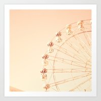 Mid white ferris wheel on pink Art Print