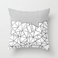 Abstract Outline Grid Bl… Throw Pillow