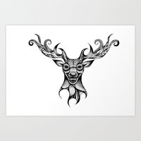 Henna Inspired Stag Head by Ashley-Rose Standish Art Print