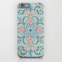 iPhone Cases featuring Gypsy Floral in Red & Blue by micklyn