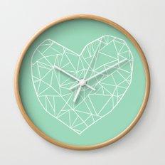 Abstract Heart Mint Wall Clock