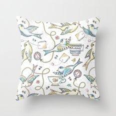 Twittering Tea Party Throw Pillow