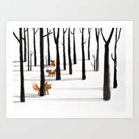 Trois Renards dans la neige Art Print