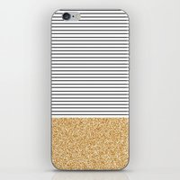 Minimal Gold Glitter Stripes iPhone & iPod Skin