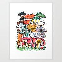 Fungi family Art Print