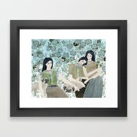Girls With Pugs Among Roses Framed Art Print