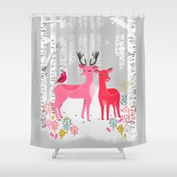 Woodland Christmas Deer … Shower Curtain
