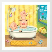 Piggy Bubble Bath Art Print