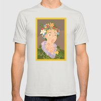 Flora by  Giuseppe Arcimboldo Mens Fitted Tee Silver SMALL